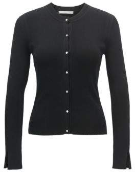 HUGO BOSS Ribbed cardigan in stretch yarn metal buttons L Black