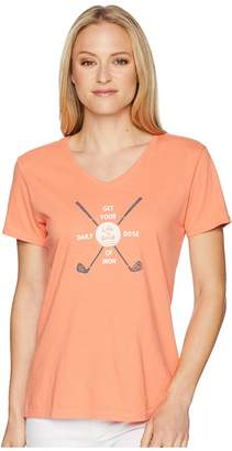 Life is Good Daily Dose Golf Crusher Vee Women's T Shirt