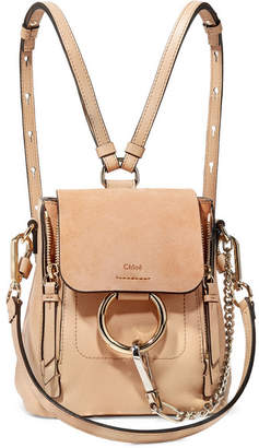 Chloé Faye Mini Textured-leather And Suede Backpack - Sand
