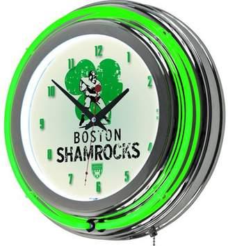 Trademark Global VAF Boston Shamrocks Chrome Double Ring Neon Clock