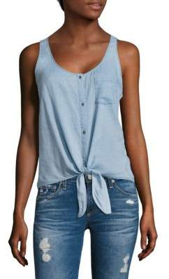 AG Adriano Goldschmied Cynthia Tie-Front Chambray Tank Top