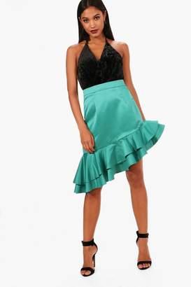 boohoo Matte Satin Drop Ruffle Hem Midi Skirt