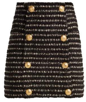 Balmain Tweed Mini Skirt - Womens - Black White