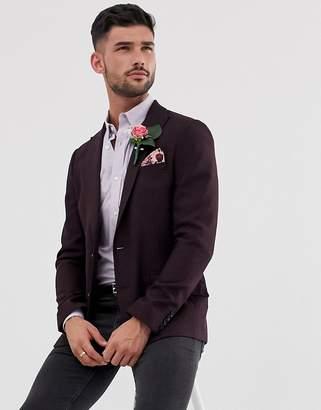 Asos Design DESIGN wedding skinny blazer in burgundy wool mix
