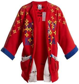 Noki - Matchstick Print Kimono Style Jacket - Womens - Red Multi