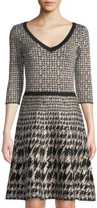 Neiman Marcus V-Neck Houndstooth Sweater Dress