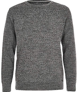 River Island Boys grey mixed stitch sweater