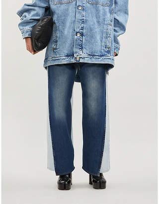 Maison Margiela Two-tone high-rise wide-leg jeans