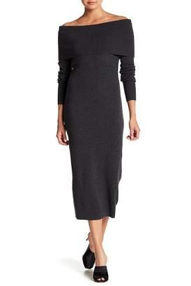 Theory Merino Wool Off-the-Shoulder Foldover Sheath Sweater Dress