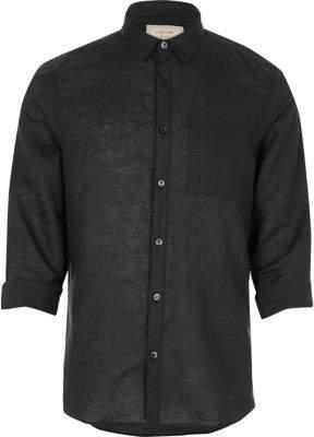 River Island Black linen-rich shirt