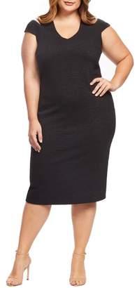 Dress the Population Bryce Slit Sleeve Knit Midi Dress