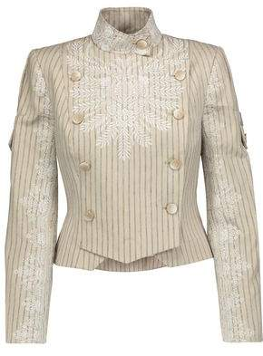Zimmermann Master Adorn Embroidered Striped-Twill Jacket