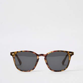 River Island Mens Black smoke lens retro sunglasses