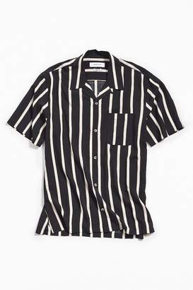 Urban Outfitters Sport Striped Rayon Short Sleeve Button-Down Shirt