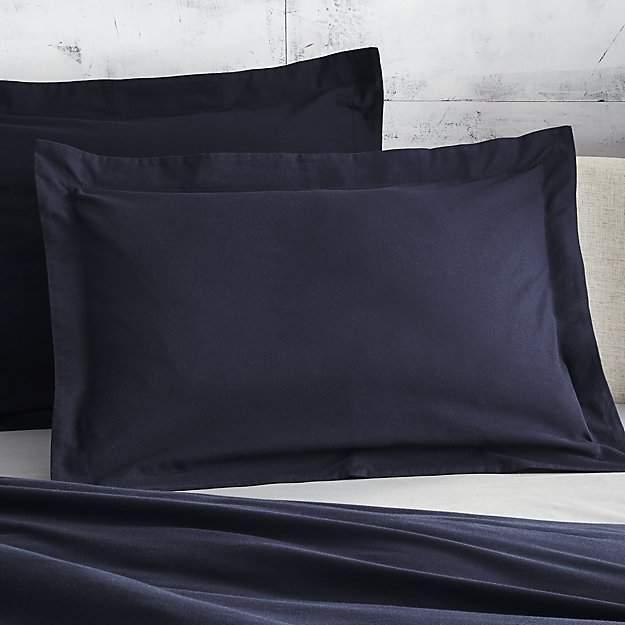 Set of 2 Brushed Navy Blue Flannel Standard Shams