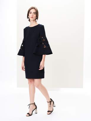 Oscar de la Renta Bell-Sleeve Stretch-Wool Crepe Shift Dress