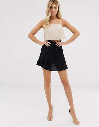 61148496e Parallel Lines pleated chiffon mini skirt in black