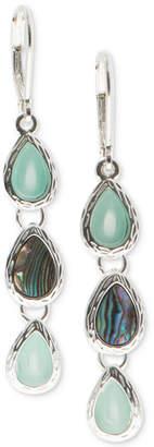 Nine West Silver-Tone Multi-Stone Triple Drop Earrings