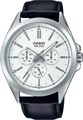 Casio Men's Classic Multi-Hand Watch, Leather Strap - MTPSW300L-7AV