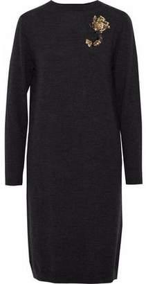 Markus Lupfer Nora Sequin-Embellished Mélange Merino Wool Dress