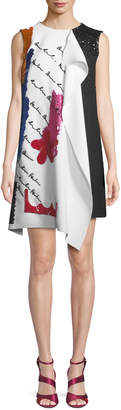 Oscar de la Renta Draped Embroidered Wool Cocktail Dress