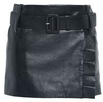 Prada Nappa Leather Miniskirt With Belt And Ruching