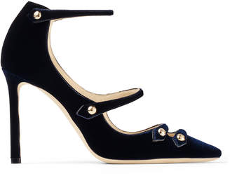 Jimmy Choo LACEY 100 Navy Velvet and Pointed Toe Pumps
