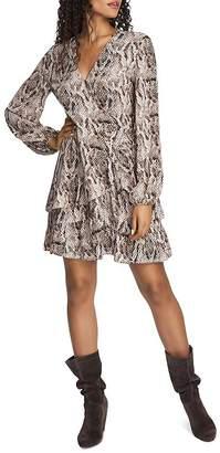 1 STATE 1.STATE Ruffled Snakeskin-Print Dress