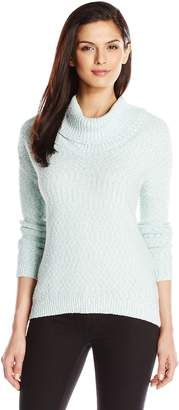 Chaus Women's Long Sleeve Cowlneck Marled Sweater