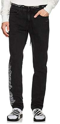 Off-White Men's Gothic-Embroidered Slim Straight Jeans