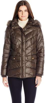 Jones New York Women's Chevron Faux Fur Trimmed Puffer Coat