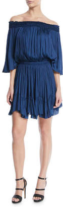 Halston Smocked Off-the-Shoulder Mini Dress