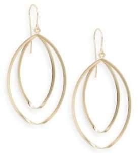 Saks Fifth Avenue 14K Yellow Gold Double Hoop Twist Drop Earrings