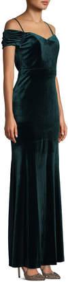 Laundry by Shelli Segal Cold-Shoulder Velvet Gown