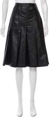 Miu Miu Pleated Faux Leather Skirt