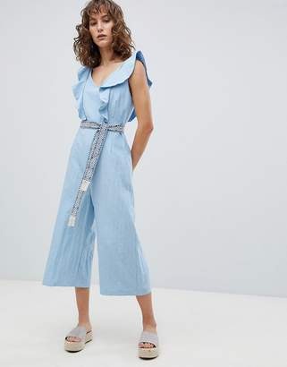 Suncoo Wide Leg Jumpsuit with Tapestry Tie