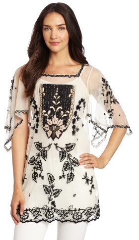 Anna Sui Women's Victorian Embroidery On Tulle Tunic