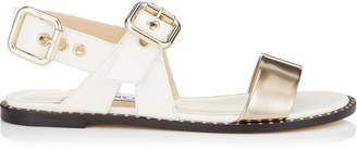 Jimmy Choo ASTRID FLAT Tan Vacchetta and Silver Liquid Leather Sandals
