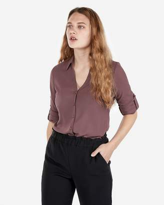 Express Slim Fit Covered Button Portofino Shirt