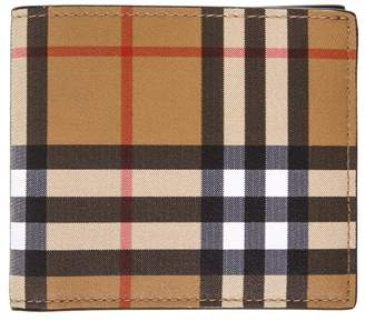 Burberry Checked Vintage Book Opening Wallet In Leather