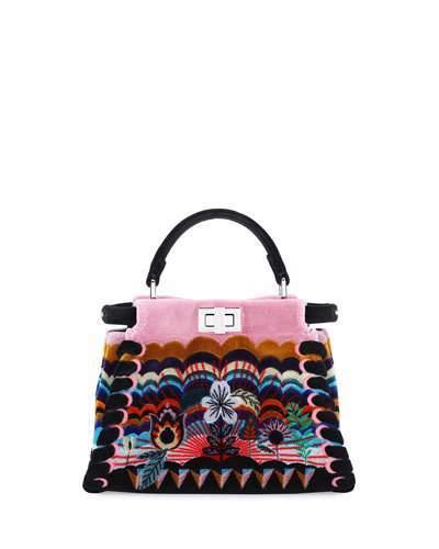 FendiFendi Peekaboo Mini Embroidered Velvet Bag, Black Multi