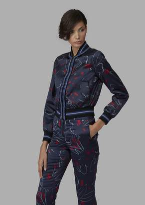 Giorgio Armani Silk Bomber With Abstract Floral Pattern