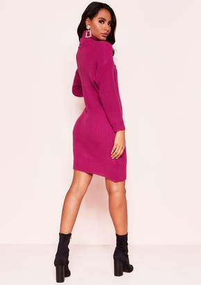88a0a81479 Missy Empire Missyempire Poppy Raspberry Roll Neck Knit Jumper Dress