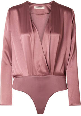 Cushnie - Wrap-effect Silk-charmeuse Bodysuit - Antique rose