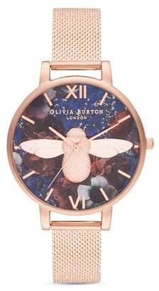 Olivia Burton Floral-Dial Bee Motif Watch, 38mm