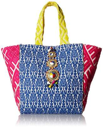 Steve Madden Zena Tribal Geometric Colored Bohemian Fabric Tote Shoulder Beach Handbag