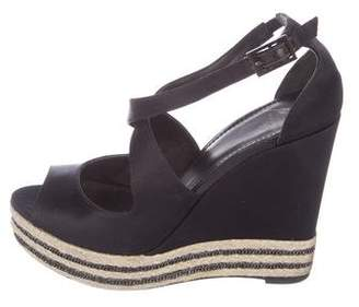 Brian Atwood Satin Wedge Sandals