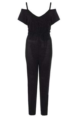 Quiz Black Glitter Strap Jumpsuit