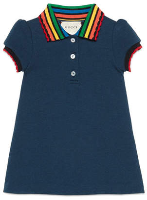 Gucci Short-Sleeve Fawn-Print Dress w/ Rainbow Collar, Size 9-36 Months