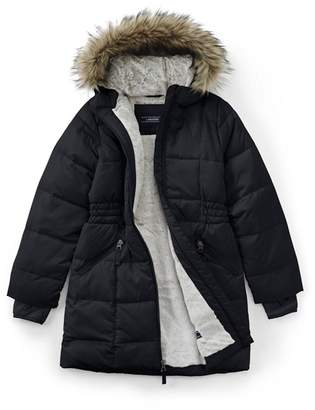 5e7393776 at Debenhams · Lands' End Black Girls' Thermoplume Fleece Lined Coat